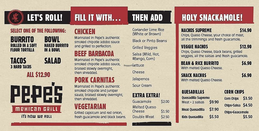 """Photo of Pepe's Mexican Grill  by <a href=""""/members/profile/AndyTheVWDude"""">AndyTheVWDude</a> <br/>Pepe's Menu <br/> September 5, 2017  - <a href='/contact/abuse/image/100381/301305'>Report</a>"""