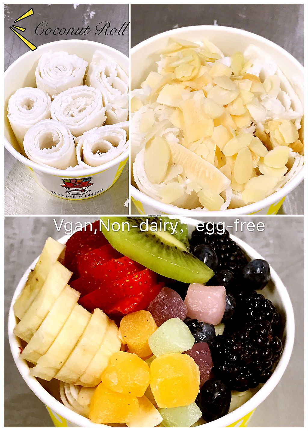 """Photo of Snowman Rolling Ice Cream  by <a href=""""/members/profile/JieLiang"""">JieLiang</a> <br/>vgan coconut ice cream <br/> September 6, 2017  - <a href='/contact/abuse/image/100399/301345'>Report</a>"""