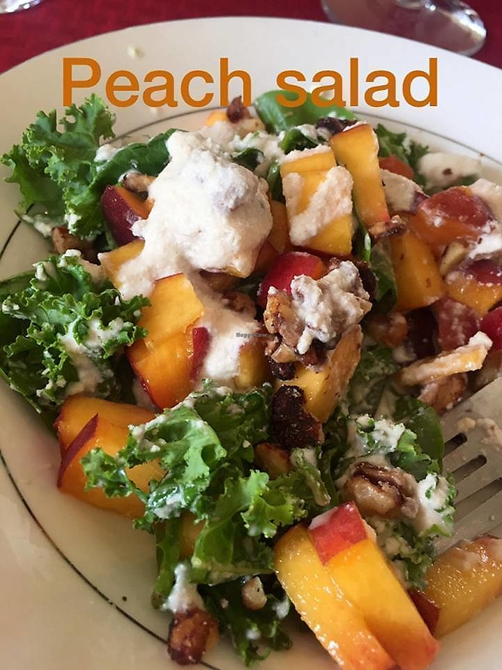 """Photo of Living Desert Ranch  by <a href=""""/members/profile/curlsz"""">curlsz</a> <br/>Peach salad with roasted pecans and cashew cream sauce <br/> September 9, 2017  - <a href='/contact/abuse/image/100444/302698'>Report</a>"""