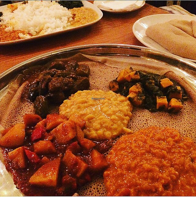 """Photo of Keren View  by <a href=""""/members/profile/BeagleLondon"""">BeagleLondon</a> <br/>Selection of 5 dishes and injera ?? <br/> March 11, 2018  - <a href='/contact/abuse/image/100448/369413'>Report</a>"""