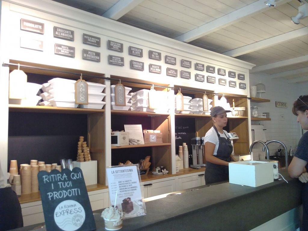"Photo of Gelateria La Romana  by <a href=""/members/profile/mariona.pages"">mariona.pages</a> <br/>The counter and the other countless flavours of dairy ice-cream! (In cae you go with non-vegans!) <br/> September 8, 2017  - <a href='/contact/abuse/image/100470/301977'>Report</a>"