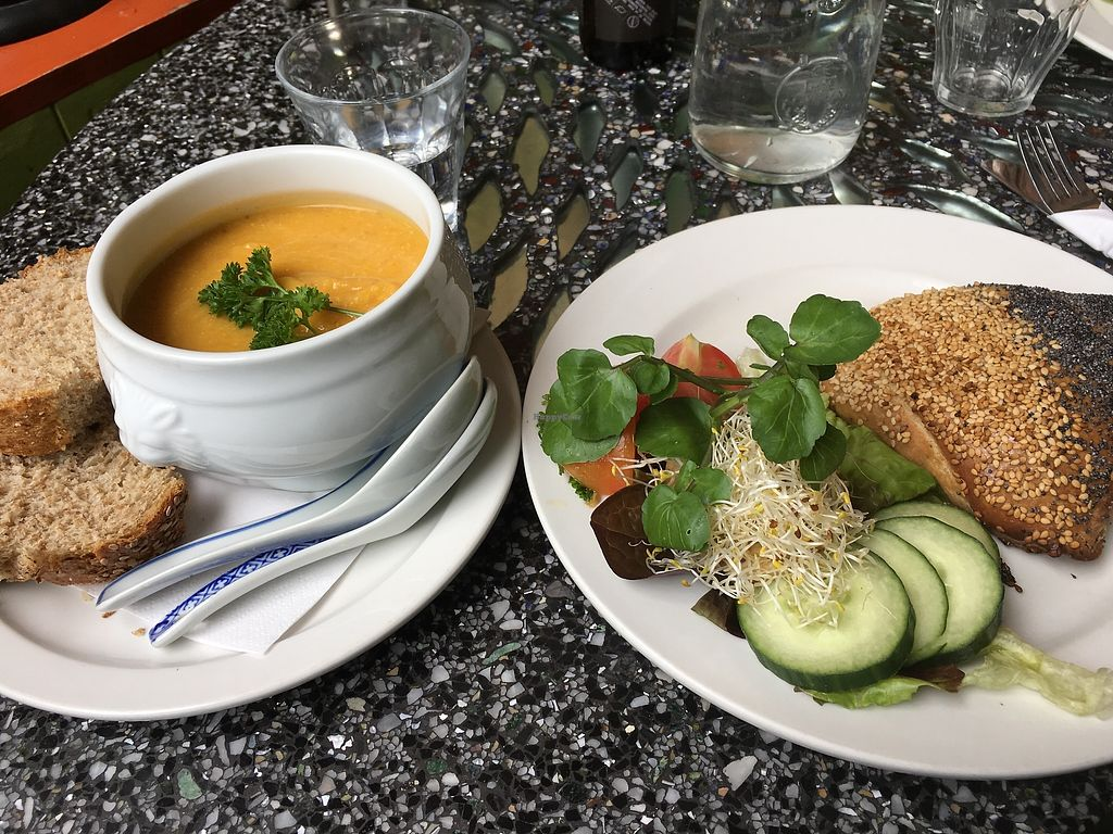 """Photo of Bolhoed  by <a href=""""/members/profile/vegan%20frog"""">vegan frog</a> <br/>Soup and vegan pastry <br/> June 29, 2017  - <a href='/contact/abuse/image/1004/274857'>Report</a>"""