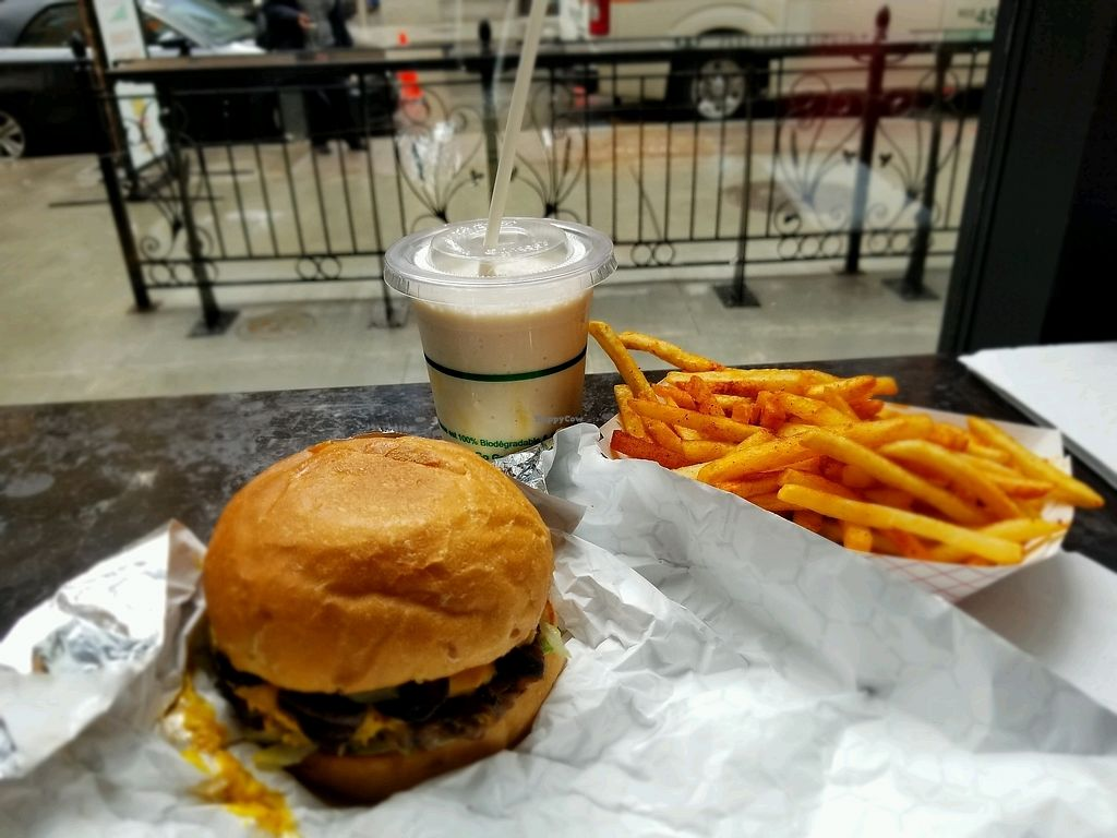 """Photo of Planta Burger  by <a href=""""/members/profile/tobby54"""">tobby54</a> <br/>Classic burger with salted Carmel Shake and BBQ seasoned fries <br/> April 16, 2018  - <a href='/contact/abuse/image/100535/386700'>Report</a>"""