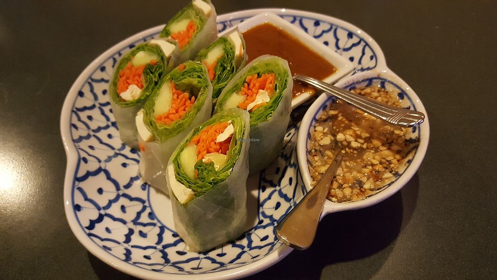 "Photo of CLOSED: Thai Basil  by <a href=""/members/profile/kayvi"">kayvi</a> <br/>Po Pia Sod - fresh salad rolls made with tofu, cucumber, lettuce, and rice noodles wrapped in rice paper. Served with peanut sauce and Thai basil sauce <br/> October 9, 2017  - <a href='/contact/abuse/image/100577/313403'>Report</a>"