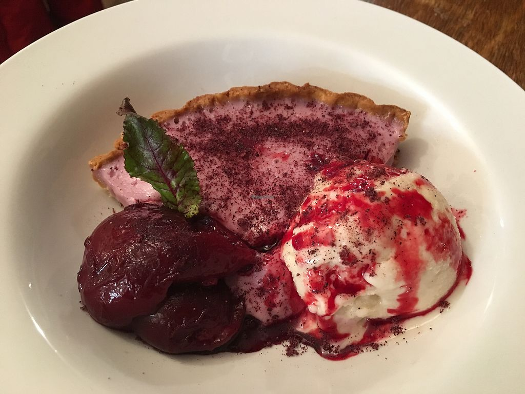 """Photo of CLOSED: Mara Restaurant  by <a href=""""/members/profile/Yolanda"""">Yolanda</a> <br/>custard tart with beetroot and black Doris plums accompanied by vanilla ice cream  <br/> September 9, 2017  - <a href='/contact/abuse/image/100578/302295'>Report</a>"""