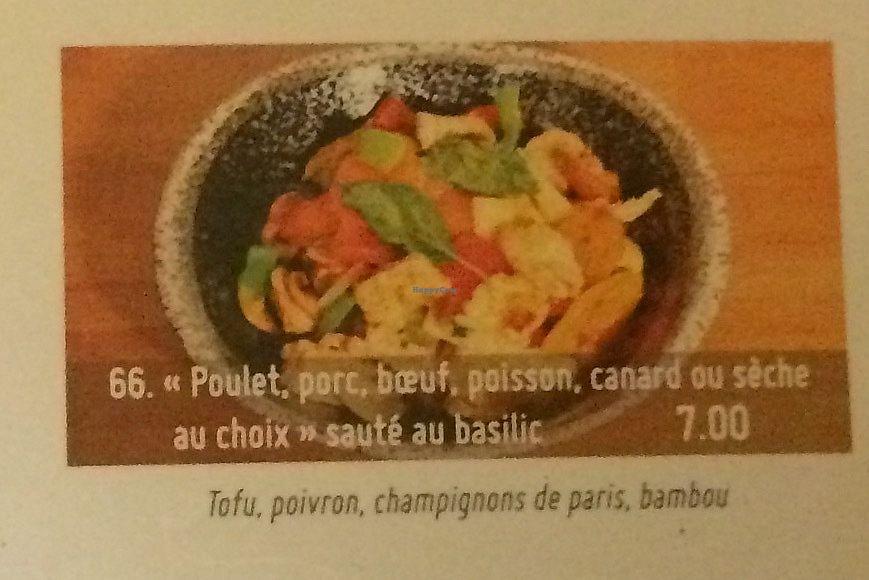 """Photo of Bodhi Vegan  by <a href=""""/members/profile/FabienMoutarde"""">FabienMoutarde</a> <br/>""""Poulet"""", """"porc"""", """"bœuf"""", """"poisson"""" ou """"seiche"""" sauté au basilic (toutes les """"viandes"""" ou """"poisson"""" sont des imitations à base de SOJA) <br/> September 10, 2017  - <a href='/contact/abuse/image/100588/303079'>Report</a>"""