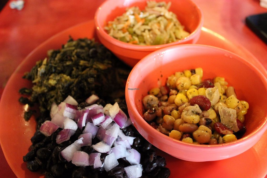 """Photo of Calypso Cafe - East  by <a href=""""/members/profile/veggie_htx"""">veggie_htx</a> <br/>Cuban beans, callaloo, basil orzo salad, bean-corn salad. Vegan! <br/> September 11, 2017  - <a href='/contact/abuse/image/100693/303460'>Report</a>"""