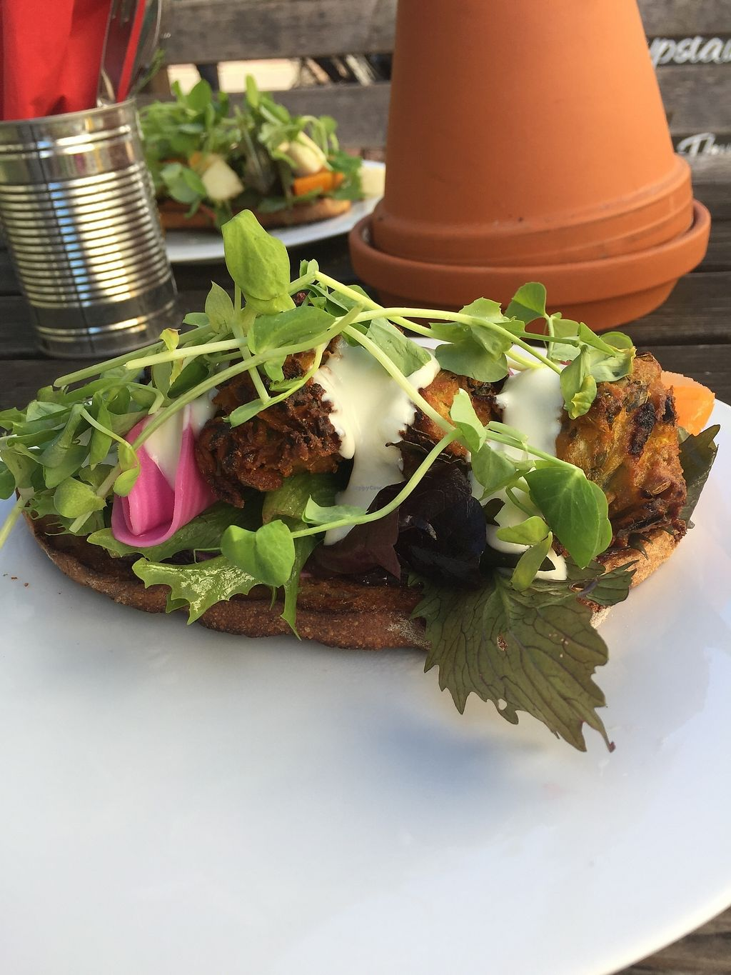 """Photo of Pattypan Kitchen at The Victory Pub  by <a href=""""/members/profile/greedyveganmama"""">greedyveganmama</a> <br/>Vegan pakora open sandwich <br/> September 24, 2017  - <a href='/contact/abuse/image/100701/307699'>Report</a>"""