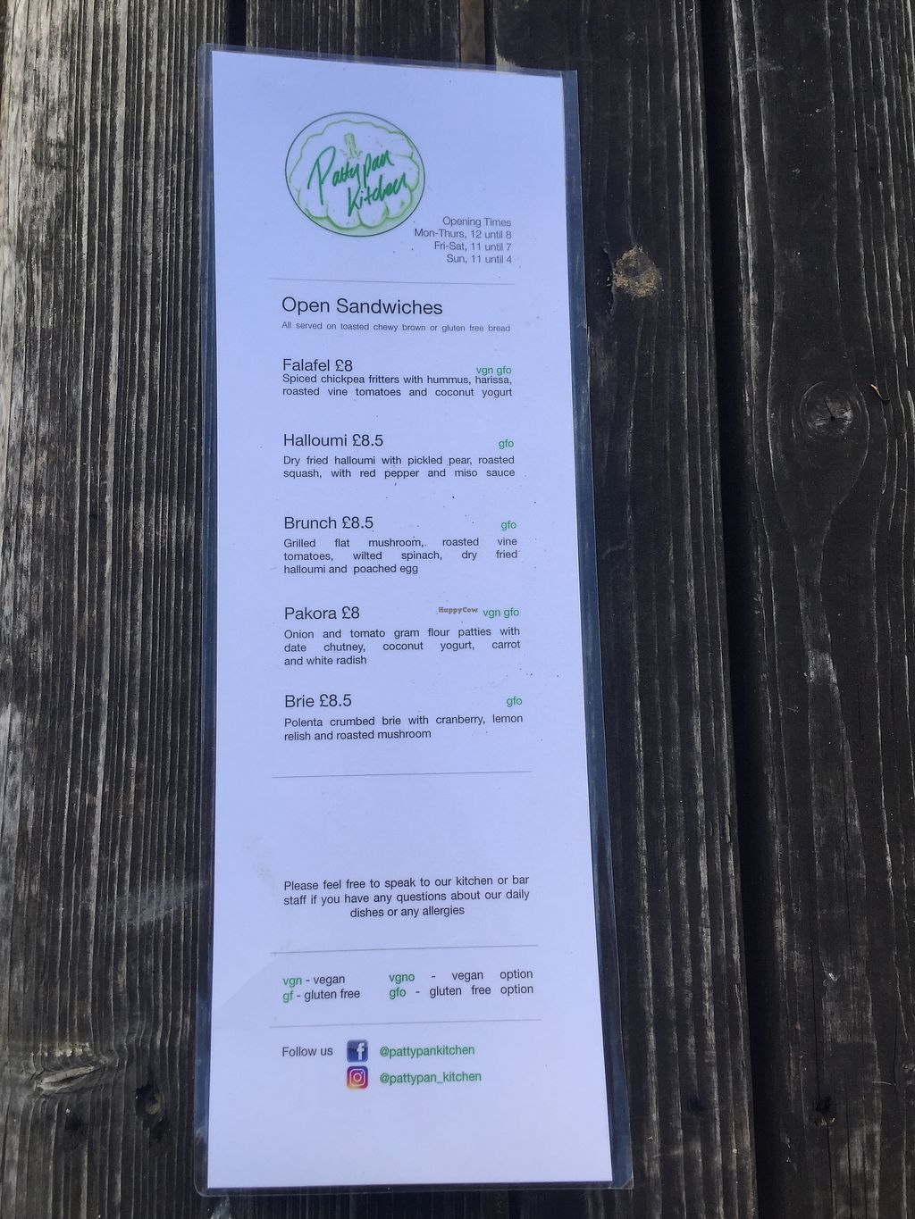 """Photo of Pattypan Kitchen at The Victory Pub  by <a href=""""/members/profile/greedyveganmama"""">greedyveganmama</a> <br/>Menu <br/> September 24, 2017  - <a href='/contact/abuse/image/100701/307700'>Report</a>"""