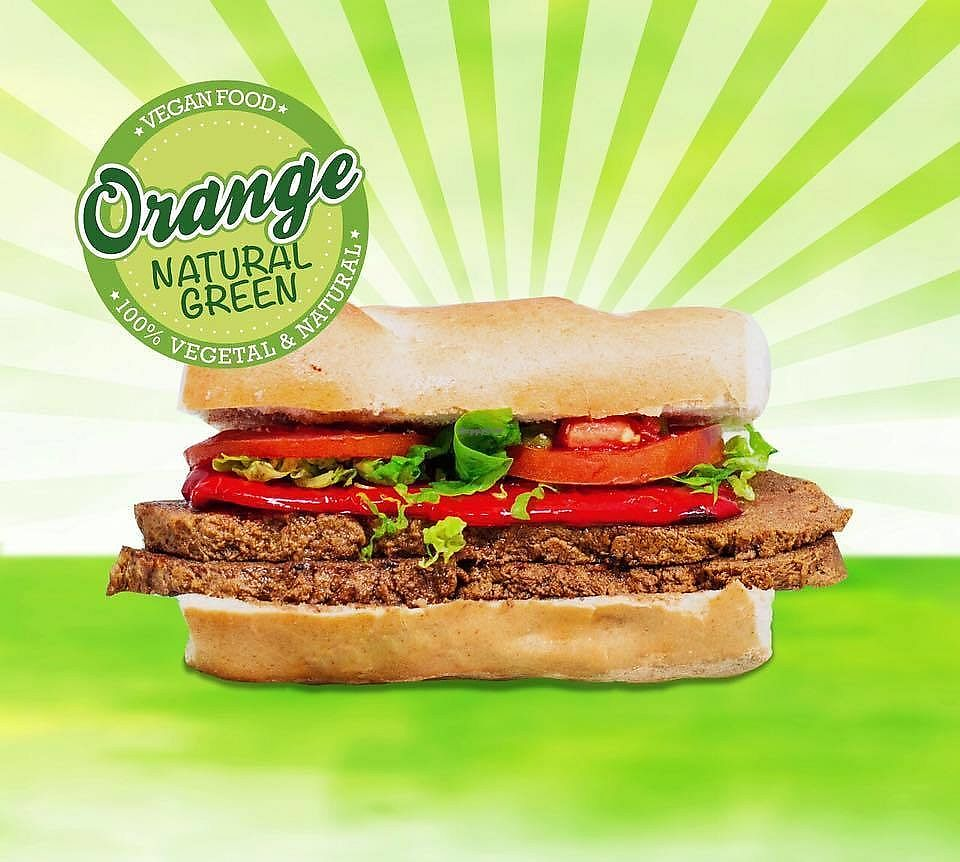 """Photo of Orange Natural Green  by <a href=""""/members/profile/madjennsy"""">madjennsy</a> <br/>Smoked Seitan Burger with roasted veggies and fresh vegetables <br/> September 14, 2017  - <a href='/contact/abuse/image/100735/304233'>Report</a>"""