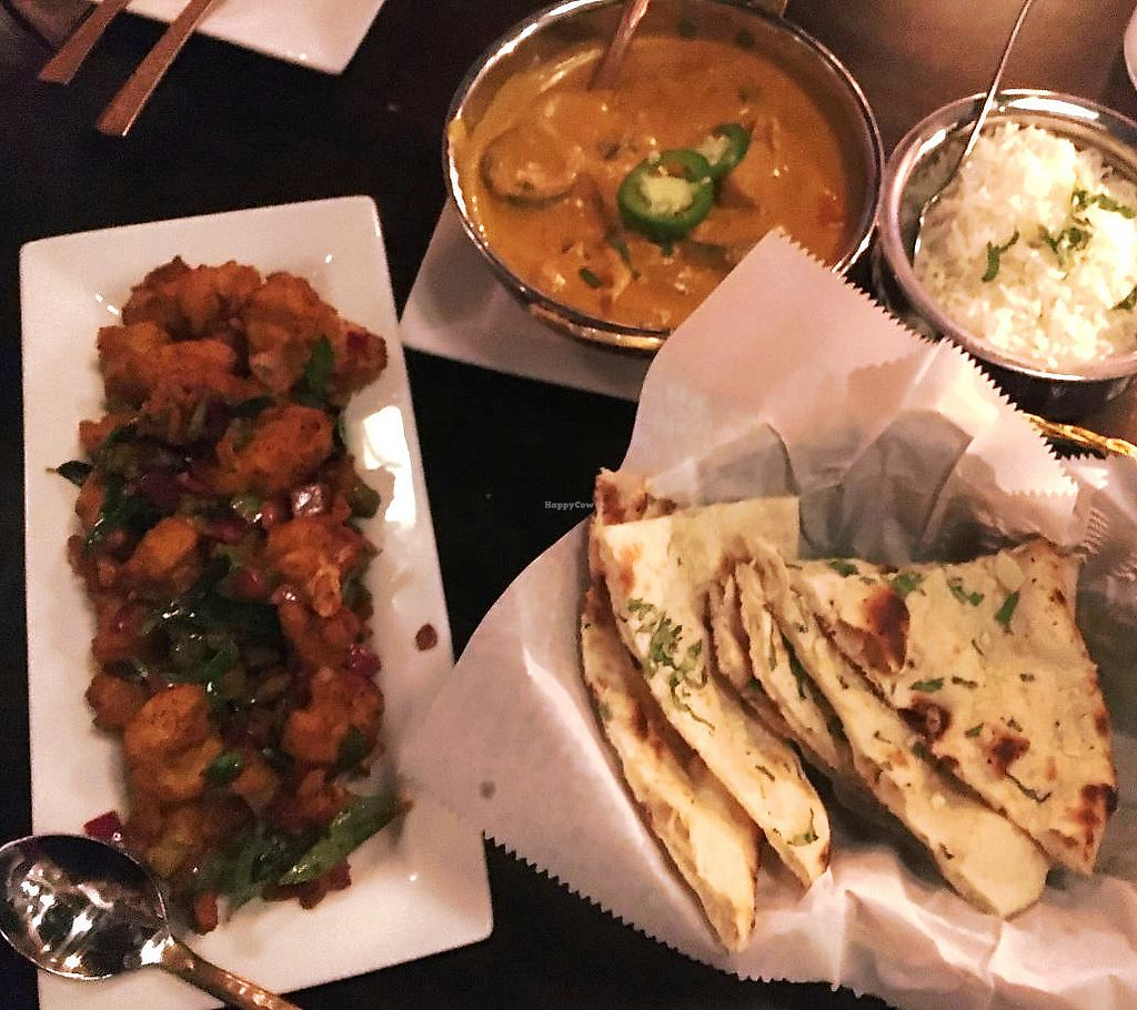 "Photo of Viceroy  by <a href=""/members/profile/turtleveg"">turtleveg</a> <br/>gobi sukka, panang curry, and vegan naan (w/o butter) <br/> September 11, 2017  - <a href='/contact/abuse/image/100773/303366'>Report</a>"