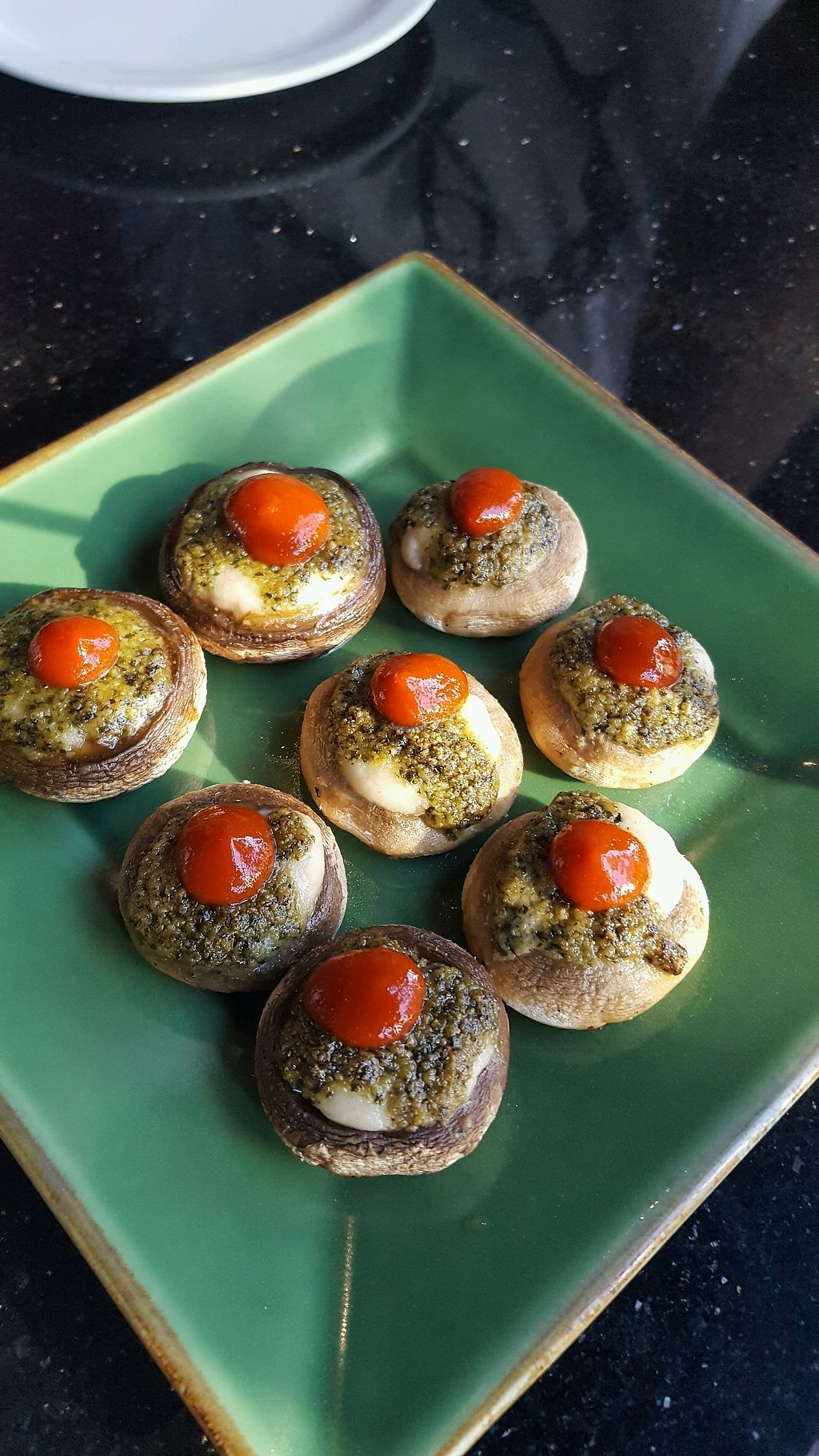 "Photo of CyBelle's Front Room  by <a href=""/members/profile/VeganScientist"">VeganScientist</a> <br/>Siracha topped stuffed mushroom caps with cashew cheese and pesto <br/> September 12, 2017  - <a href='/contact/abuse/image/100785/303657'>Report</a>"
