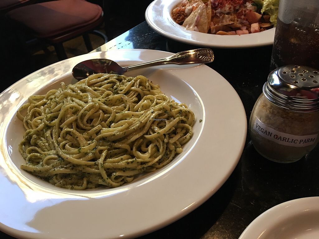 "Photo of CyBelle's Front Room  by <a href=""/members/profile/JordyDougherty"">JordyDougherty</a> <br/>Pesto linguini, cashew Parmesan and vegan nachos <br/> September 25, 2017  - <a href='/contact/abuse/image/100785/308054'>Report</a>"