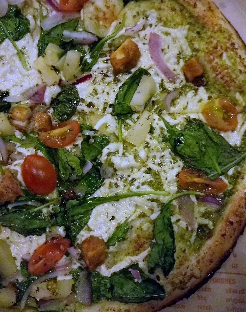 """Photo of Blaze Pizza  by <a href=""""/members/profile/clam7"""">clam7</a> <br/>the vegan cheese and chicken  <br/> September 16, 2017  - <a href='/contact/abuse/image/100799/305085'>Report</a>"""
