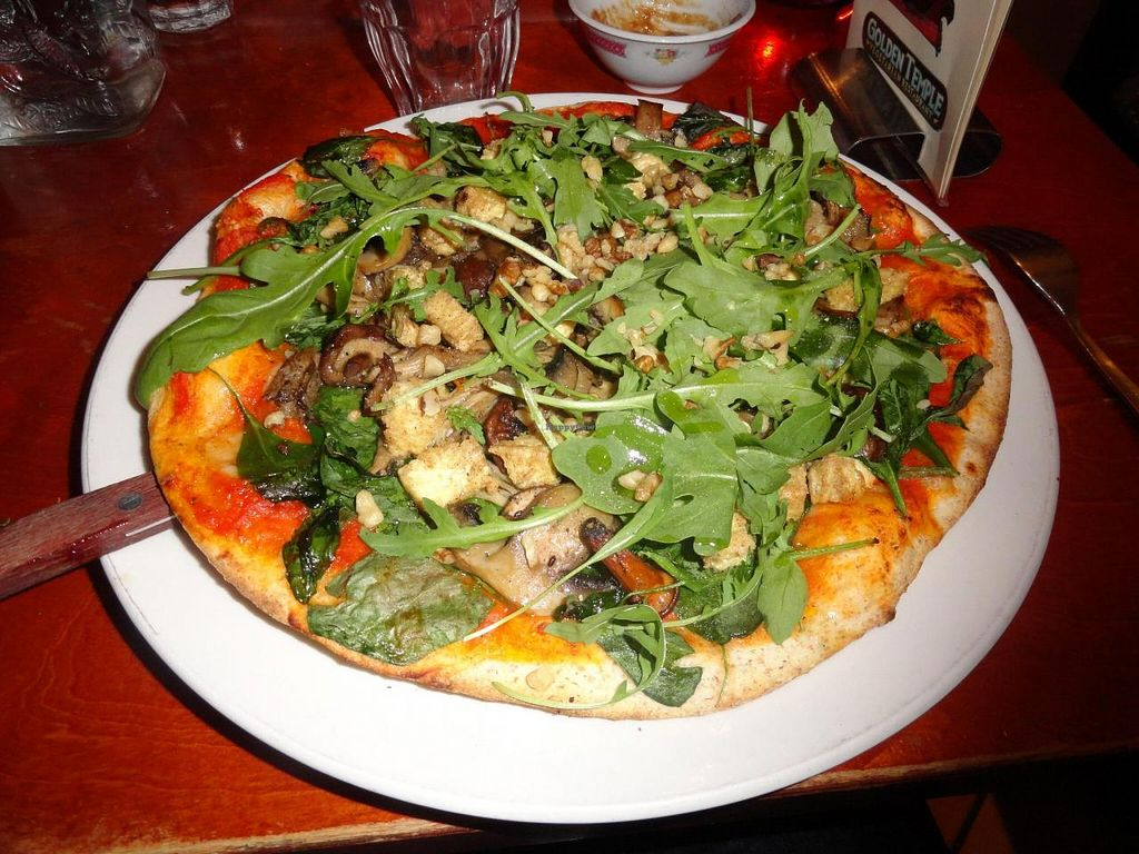 "Photo of Golden Temple  by <a href=""/members/profile/JonJon"">JonJon</a> <br/>Vegan mushroom pizza with smoked tofu <br/> August 23, 2014  - <a href='/contact/abuse/image/1007/78018'>Report</a>"