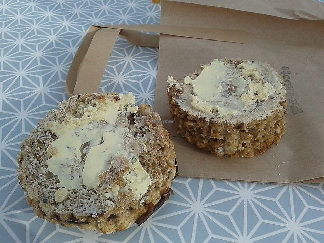 "Photo of Square Roots - Food Stall  by <a href=""/members/profile/deadpledge"">deadpledge</a> <br/>Date and walnut scone with vegan butter <br/> March 11, 2018  - <a href='/contact/abuse/image/100812/369385'>Report</a>"