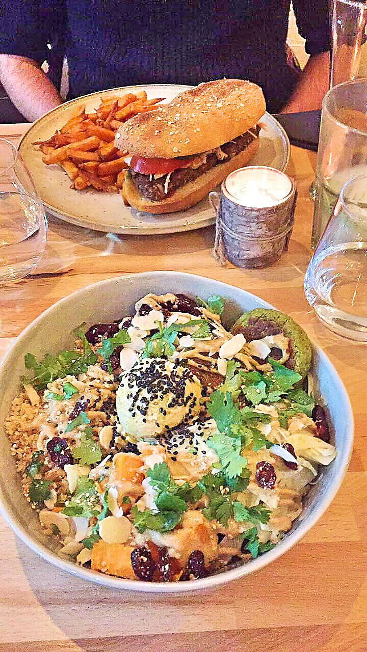 """Photo of Oh My Greens  by <a href=""""/members/profile/Clopy"""">Clopy</a> <br/>Crispy burger, sweet potatoes fries and bouddha bowl <br/> November 10, 2017  - <a href='/contact/abuse/image/100841/323780'>Report</a>"""
