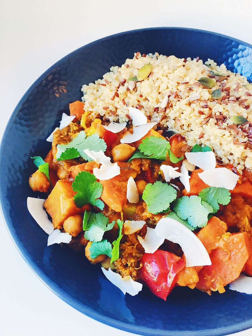 """Photo of Oh My Greens  by <a href=""""/members/profile/Ohmygreens"""">Ohmygreens</a> <br/>Indian curry served with quinoa <br/> March 14, 2018  - <a href='/contact/abuse/image/100841/370473'>Report</a>"""