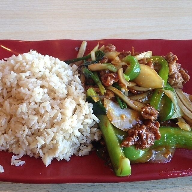 "Photo of Veggie House  by <a href=""/members/profile/SushiSauce"">SushiSauce</a> <br/>Mongolian chikn with brown rice <br/> October 10, 2017  - <a href='/contact/abuse/image/100875/313803'>Report</a>"