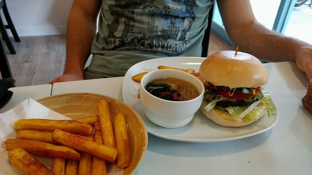 """Photo of Yummy Vegan Home - Ya Mi Rizi  by <a href=""""/members/profile/darkrabbit"""">darkrabbit</a> <br/>burger with sweet potato fries and soup <br/> October 28, 2017  - <a href='/contact/abuse/image/100897/319437'>Report</a>"""