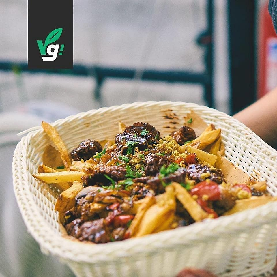 """Photo of Vg Burger  by <a href=""""/members/profile/JenniferFlores"""">JenniferFlores</a> <br/>Chorrillana: Seitan, tofu-egg, vegetables, french fries! <br/> February 8, 2018  - <a href='/contact/abuse/image/100925/356445'>Report</a>"""