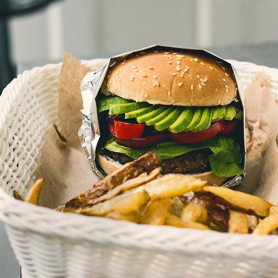 """Photo of Vg Burger  by <a href=""""/members/profile/JenniferFlores"""">JenniferFlores</a> <br/>Andina: Quinoa burger, lettuce, red pepper, avocado, caramel onion.   <br/> February 8, 2018  - <a href='/contact/abuse/image/100925/356446'>Report</a>"""