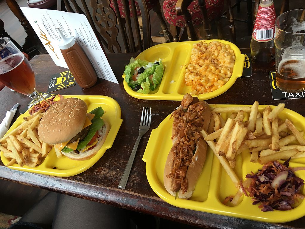 """Photo of The Caledonia  by <a href=""""/members/profile/TomPerignon"""">TomPerignon</a> <br/>Bacon double cheese burger, pulled jackfruit dog and Mac and cheese <br/> April 12, 2018  - <a href='/contact/abuse/image/100975/384675'>Report</a>"""