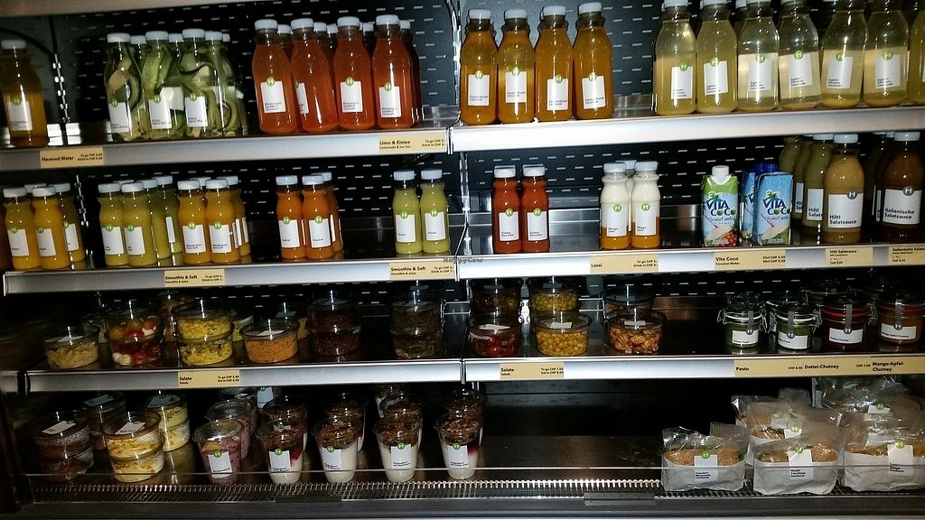 """Photo of Hiltl - Langstrasse  by <a href=""""/members/profile/StephanieKarinHaugen"""">StephanieKarinHaugen</a> <br/>View of their take-away refrigerated offerings. All vegetarian but many vegan options. Just look for the """"V.""""  <br/> January 12, 2018  - <a href='/contact/abuse/image/100989/345850'>Report</a>"""