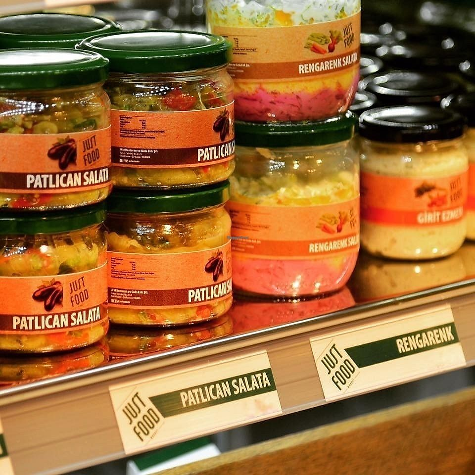 """Photo of Just Food Market  by <a href=""""/members/profile/bourchuck"""">bourchuck</a> <br/>Mezes with olive oil and veggie salads in jars <br/> September 14, 2017  - <a href='/contact/abuse/image/100998/304477'>Report</a>"""