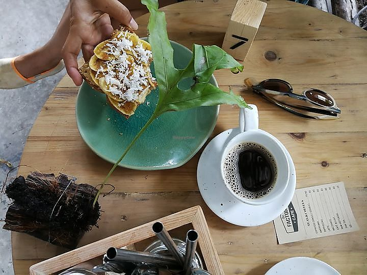 """Photo of The Factory Cafe  by <a href=""""/members/profile/AliceFerrer"""">AliceFerrer</a> <br/>Vegan healthy toast of house peanut butter, banana and cinnamon <br/> September 15, 2017  - <a href='/contact/abuse/image/101030/304634'>Report</a>"""