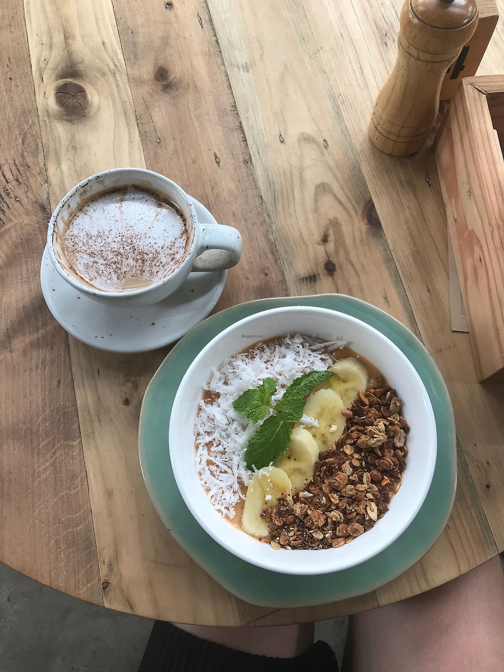 """Photo of The Factory Cafe  by <a href=""""/members/profile/SofiaLindwall"""">SofiaLindwall</a> <br/>Smoothiebowl and coconut cappuccino <br/> March 17, 2018  - <a href='/contact/abuse/image/101030/371667'>Report</a>"""