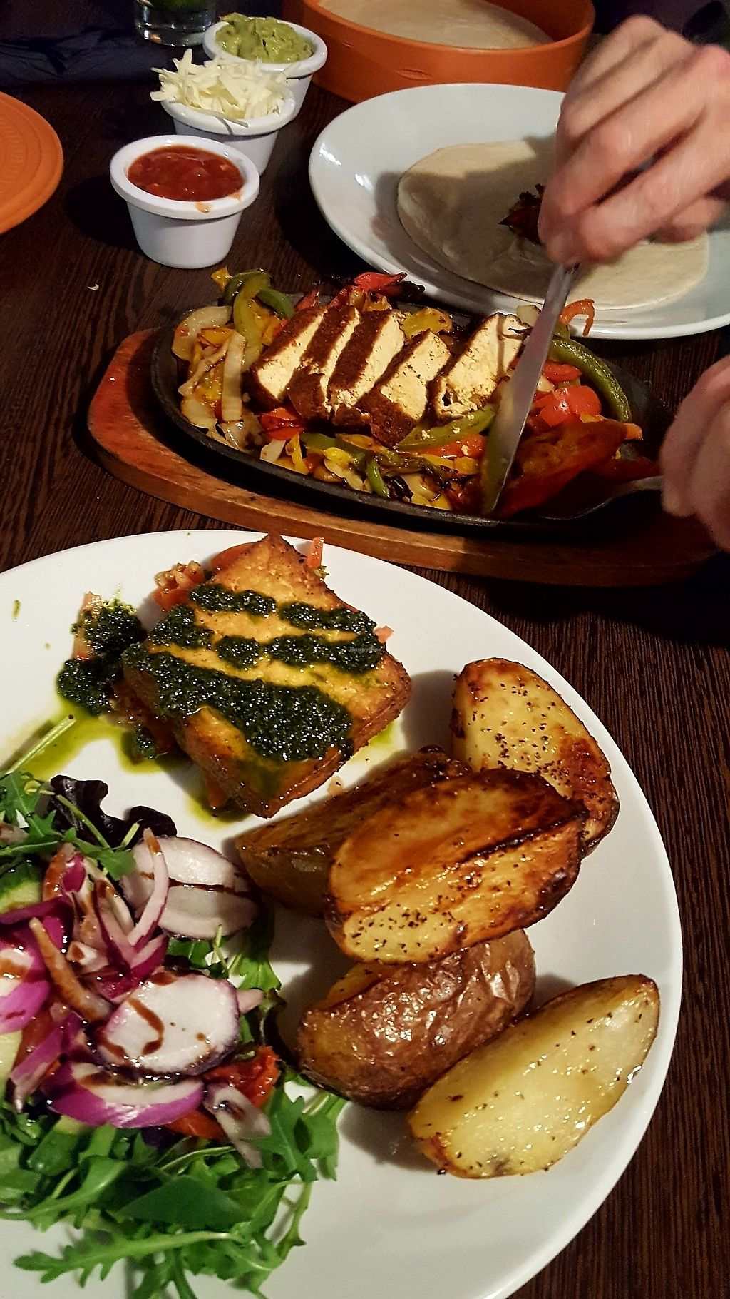 "Photo of Rock Garden  by <a href=""/members/profile/VeganAnnaS"">VeganAnnaS</a> <br/>Marinated tofu with salsa verde and tofu fajitas <br/> January 4, 2018  - <a href='/contact/abuse/image/101055/343028'>Report</a>"