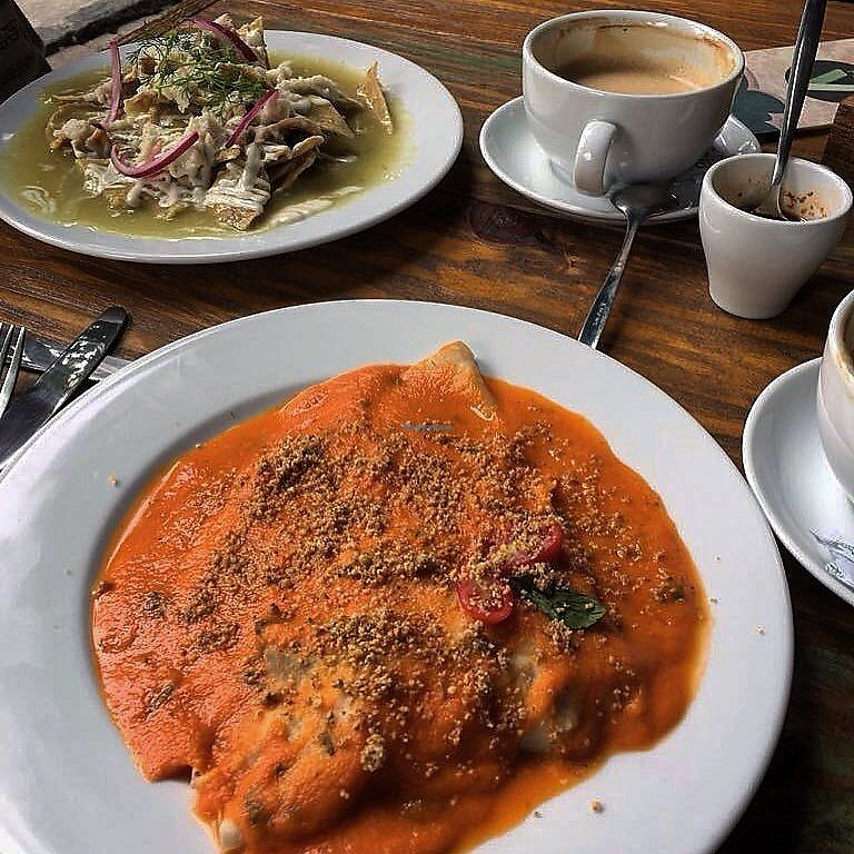 "Photo of Plan V Cafe  by <a href=""/members/profile/hakunapatata"">hakunapatata</a> <br/>Chilaquiles, coffee and portobello crepe (picture from my personal blog: http://instagram.com/hakuna_patata_) <br/> October 16, 2017  - <a href='/contact/abuse/image/101064/315772'>Report</a>"