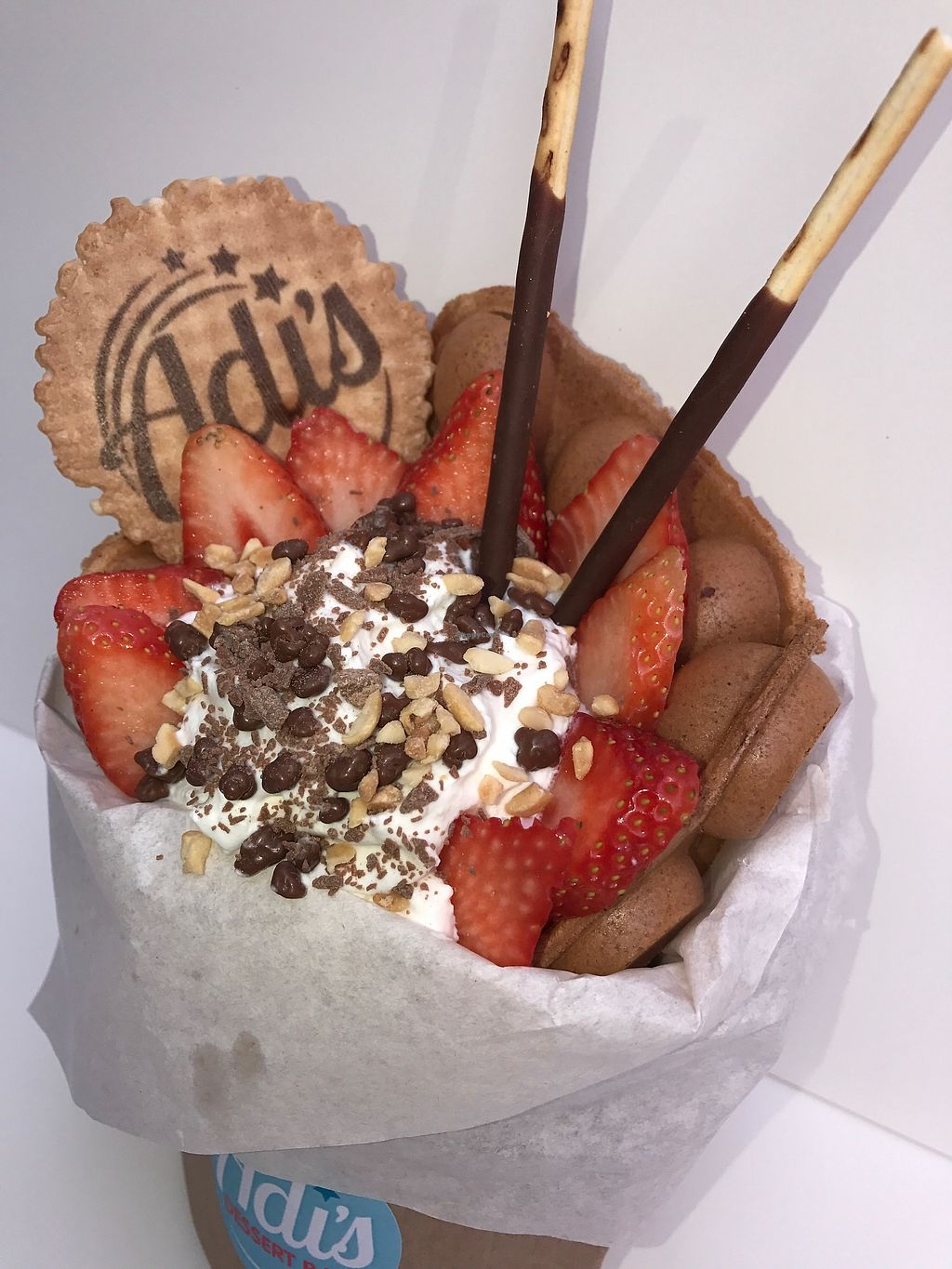 """Photo of Adi's's Dessert Bar  by <a href=""""/members/profile/KateBoucher"""">KateBoucher</a> <br/>Bubble waffle with fruits and ice cream  <br/> September 18, 2017  - <a href='/contact/abuse/image/101091/305553'>Report</a>"""