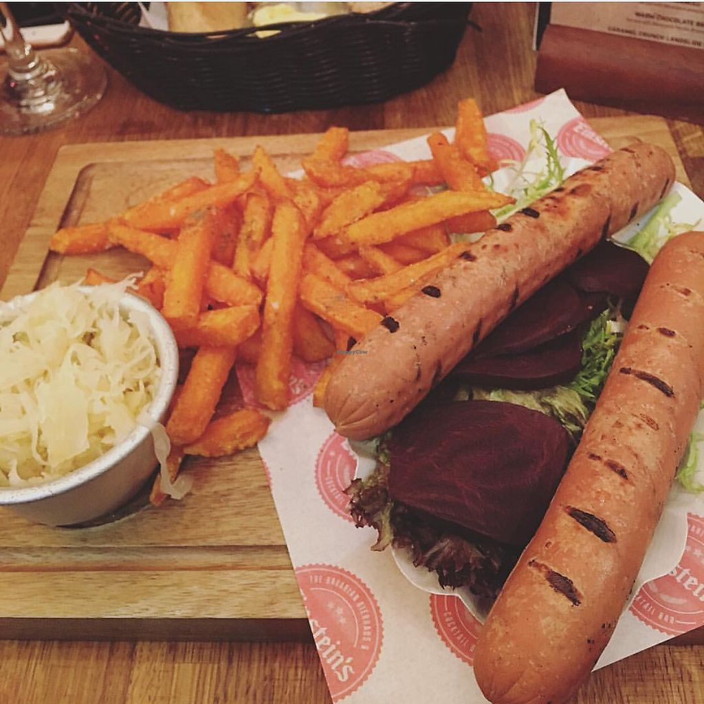 """Photo of Einstein's  by <a href=""""/members/profile/edajoir"""">edajoir</a> <br/>Vegan bratwurst with beet salad, sweet pot fries and sauerkraut  <br/> September 17, 2017  - <a href='/contact/abuse/image/101092/305505'>Report</a>"""