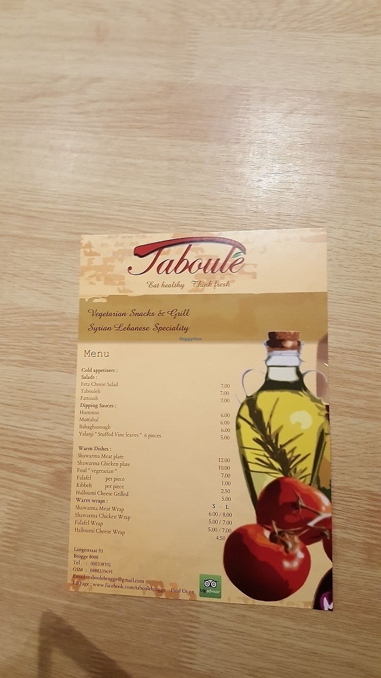 """Photo of Taboule  by <a href=""""/members/profile/Hanna_F"""">Hanna_F</a> <br/>Menu. They also have menu with the list of ingredients in each dish <br/> March 13, 2018  - <a href='/contact/abuse/image/101093/370189'>Report</a>"""