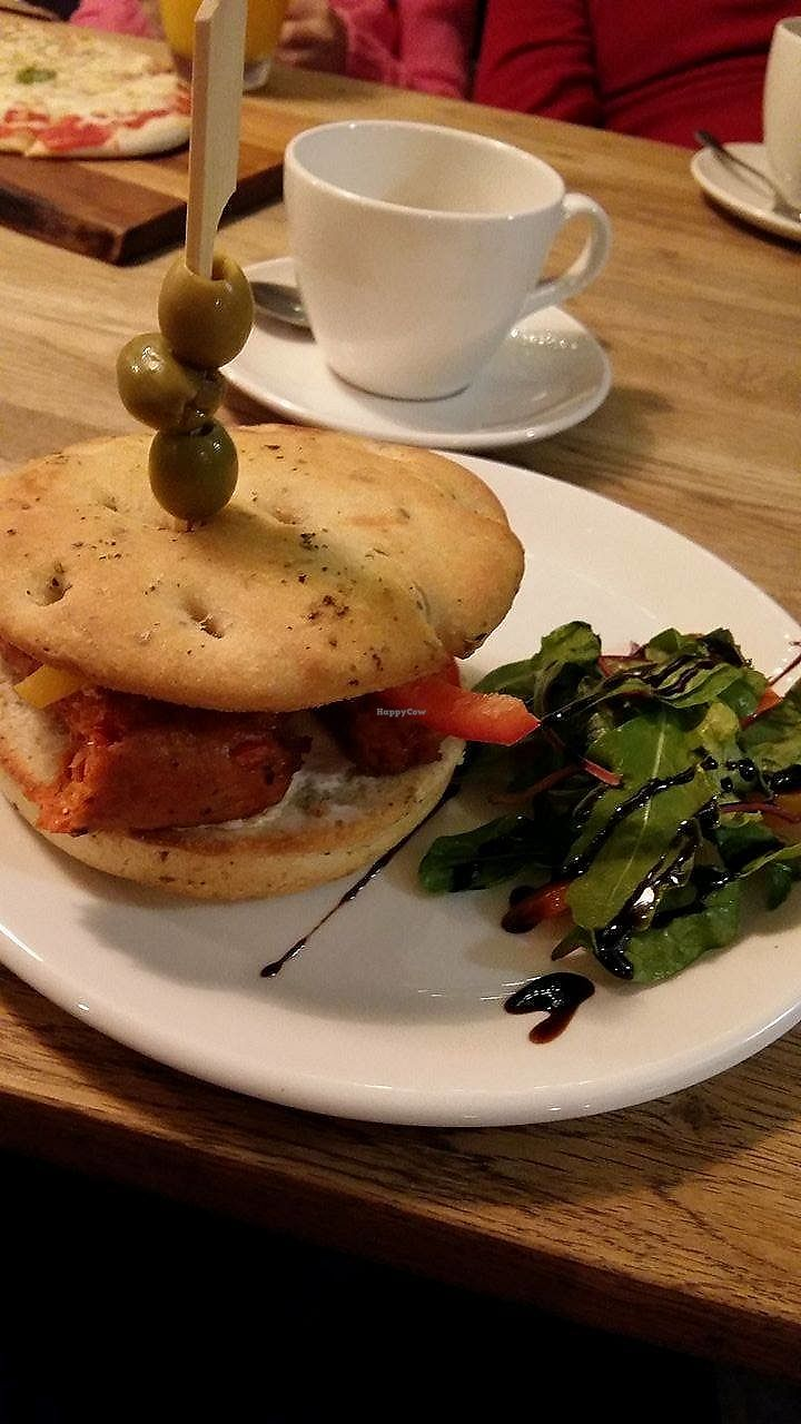 """Photo of Panaro's Cafe and Bar  by <a href=""""/members/profile/Tezcan"""">Tezcan</a> <br/>Vegan sandwich made with Linda McCartney chorizo, coconut cheese alternative and focaccia bread <br/> September 16, 2017  - <a href='/contact/abuse/image/101128/305153'>Report</a>"""