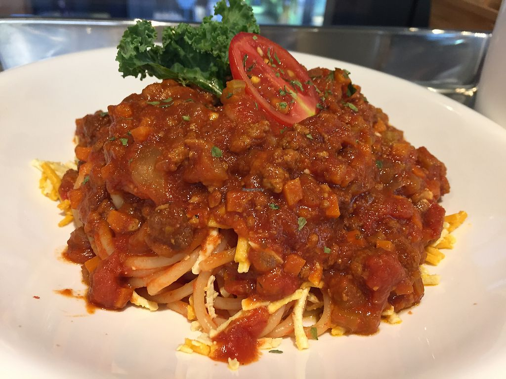 """Photo of Green Common - The Forest  by <a href=""""/members/profile/TillyMitchell"""">TillyMitchell</a> <br/>Spaghetti with Daiya cheese in tomato sauce with 'mince' <br/> December 7, 2017  - <a href='/contact/abuse/image/101138/333067'>Report</a>"""