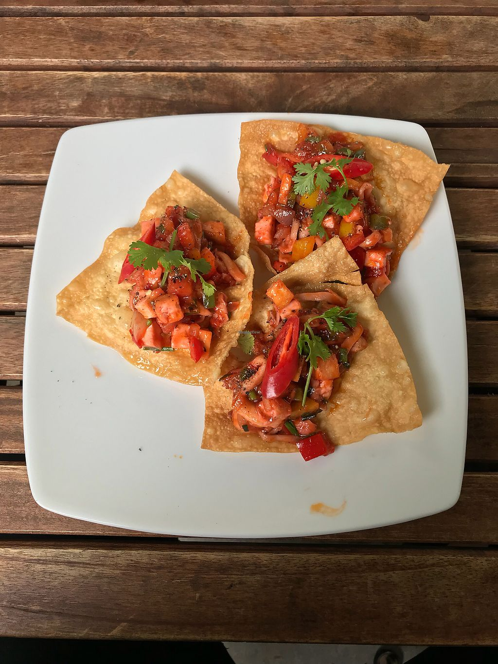 """Photo of What Else Cafe  by <a href=""""/members/profile/vegetariangirl"""">vegetariangirl</a> <br/>Fried wonton with a fruit salsa and tofu  <br/> January 20, 2018  - <a href='/contact/abuse/image/101159/348752'>Report</a>"""