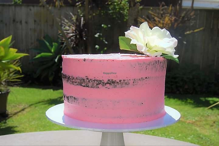 """Photo of Temptation Cakes  by <a href=""""/members/profile/TemptationCakes"""">TemptationCakes</a> <br/>Raspberry Chocolate Mud Cake 100% Vegan $65 Cake is 8 inch triple layer. A small delivery  fee my apply depending on location within Auckland  <br/> September 19, 2017  - <a href='/contact/abuse/image/101196/306100'>Report</a>"""