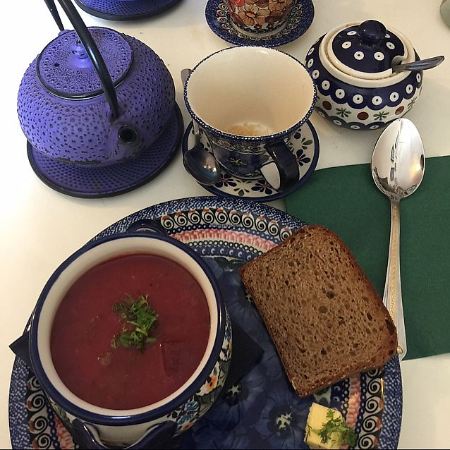 "Photo of Hazel Mountain Chocolate Cafe  by <a href=""/members/profile/VeganDarling"">VeganDarling</a> <br/>Organic beetroot and chard soup <br/> September 19, 2017  - <a href='/contact/abuse/image/101222/306161'>Report</a>"