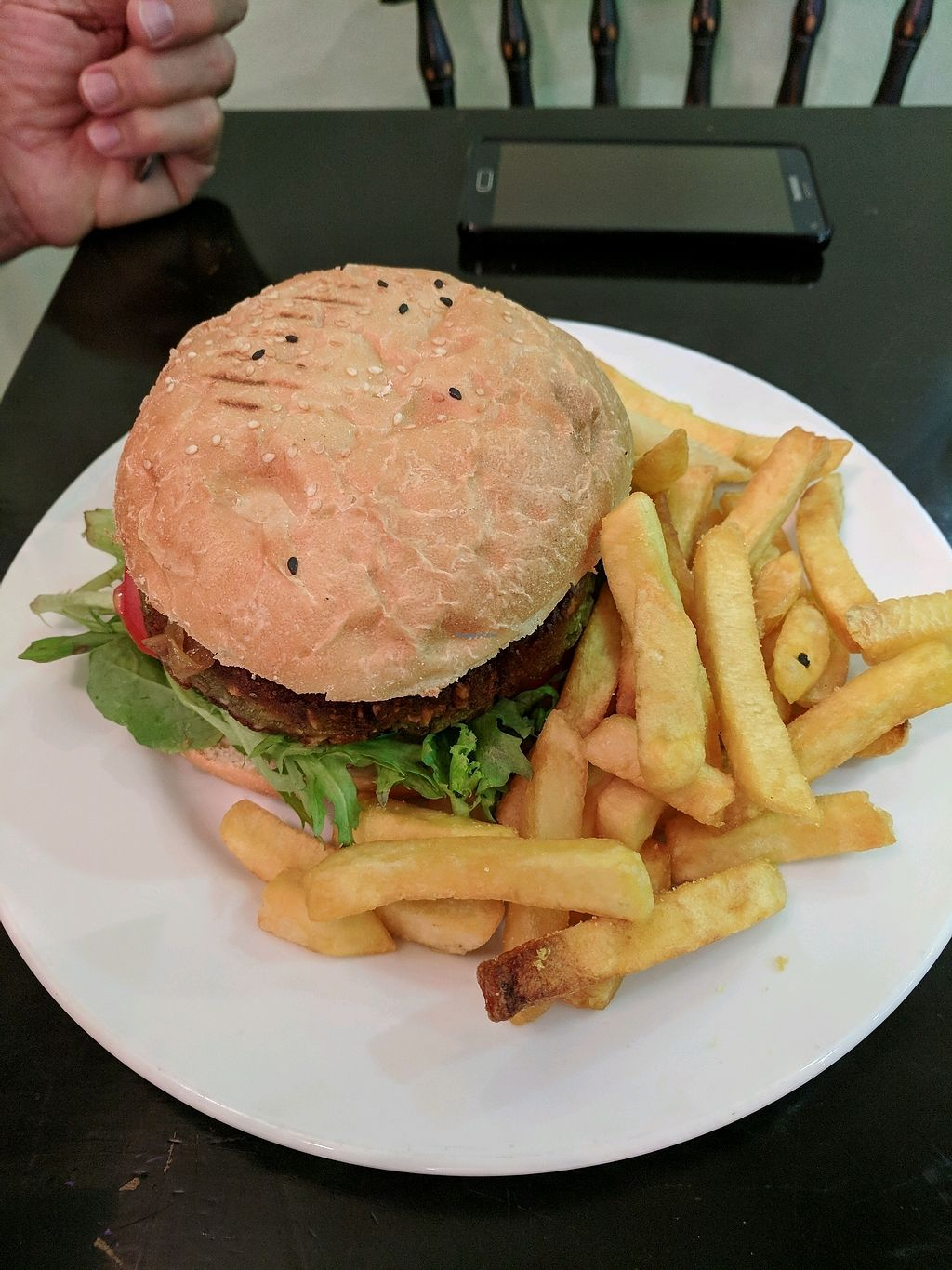 "Photo of Orchid Vegetarian Cafe  by <a href=""/members/profile/MarionFrancisVannuc"">MarionFrancisVannuc</a> <br/>Vegan Lentil Burger & Chips <br/> January 14, 2018  - <a href='/contact/abuse/image/101246/346509'>Report</a>"