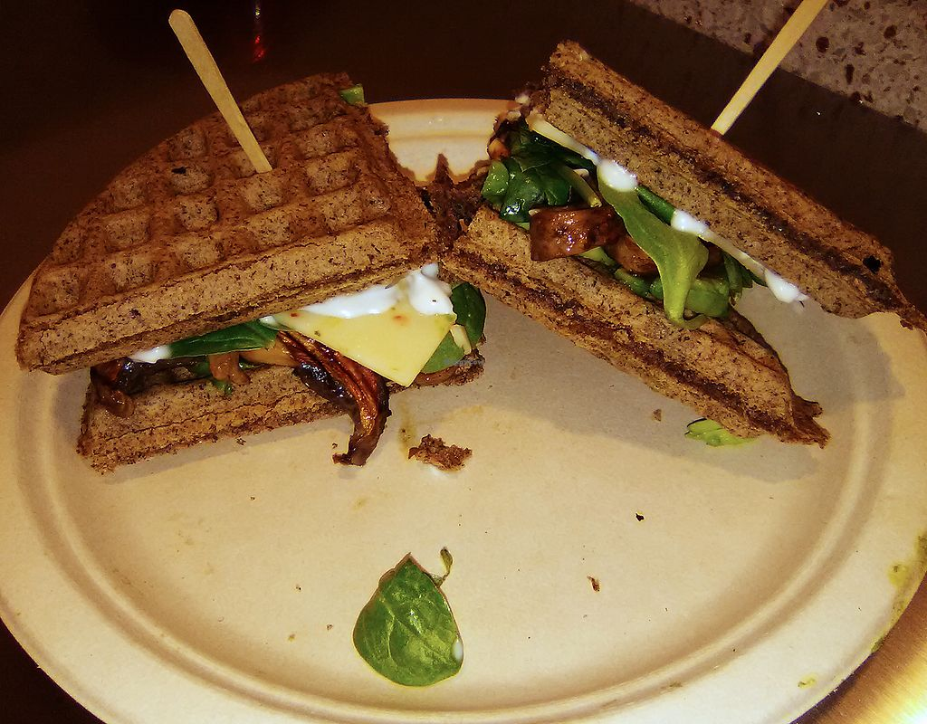 "Photo of Boba Nosh  by <a href=""/members/profile/mexivegan"">mexivegan</a> <br/>Magic Shroom sandwich on buckwheat waffles with Follow Your Heart vegan cheese <br/> February 14, 2018  - <a href='/contact/abuse/image/101282/359067'>Report</a>"