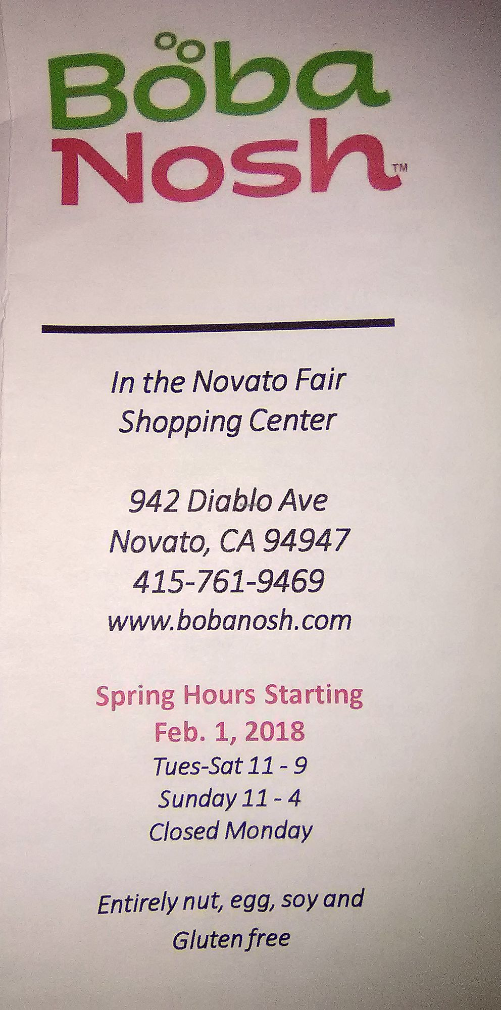 "Photo of Boba Nosh  by <a href=""/members/profile/mexivegan"">mexivegan</a> <br/>Menu cover for Boba Nosh <br/> February 14, 2018  - <a href='/contact/abuse/image/101282/359070'>Report</a>"