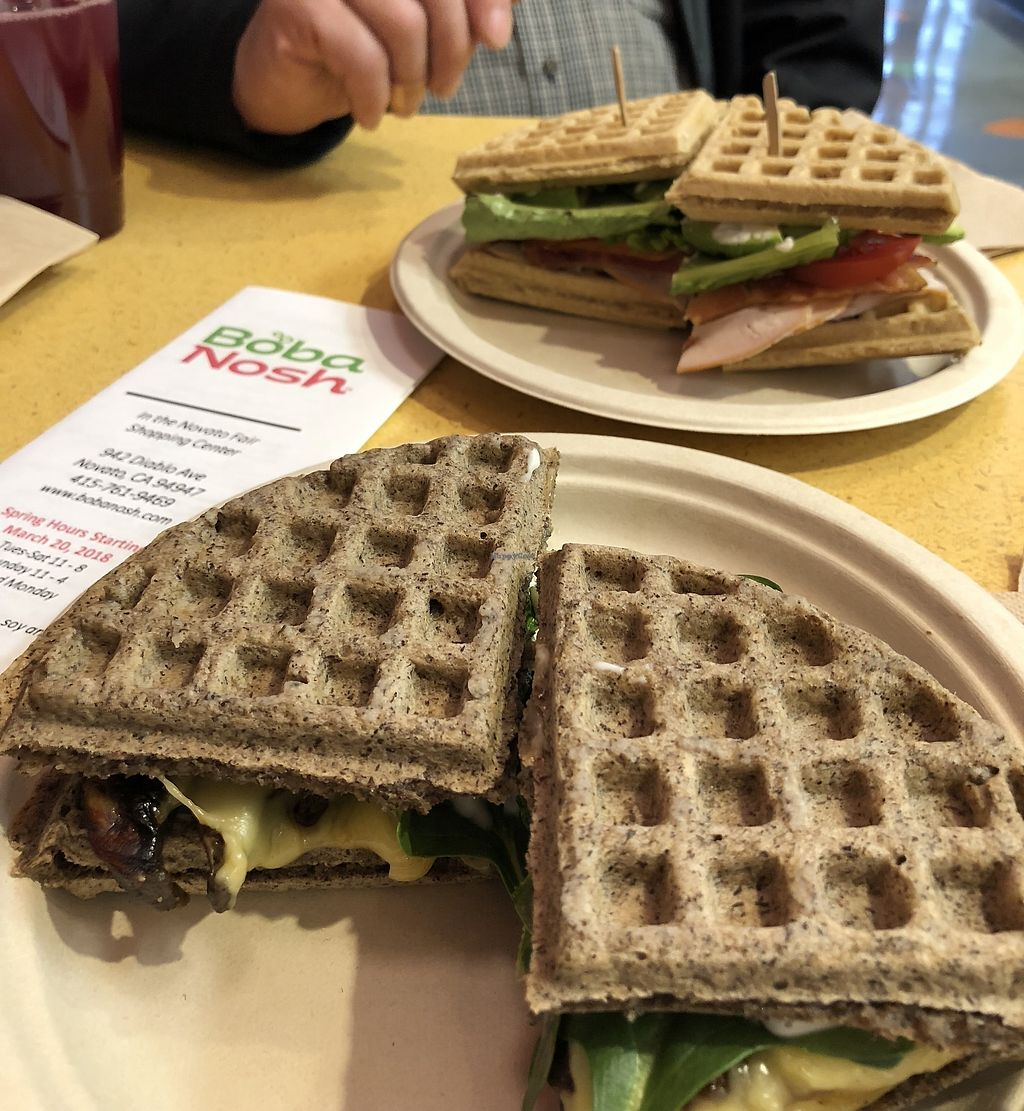 "Photo of Boba Nosh  by <a href=""/members/profile/KayPoole"">KayPoole</a> <br/>Magic Shroom waffle sandwich, plus club sandwich <br/> March 25, 2018  - <a href='/contact/abuse/image/101282/376094'>Report</a>"