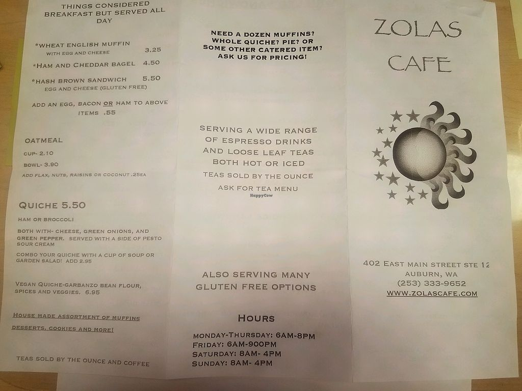 "Photo of Zola's Cafe  by <a href=""/members/profile/JuneAnnYue"">JuneAnnYue</a> <br/>menu 2 <br/> September 22, 2017  - <a href='/contact/abuse/image/101363/307132'>Report</a>"