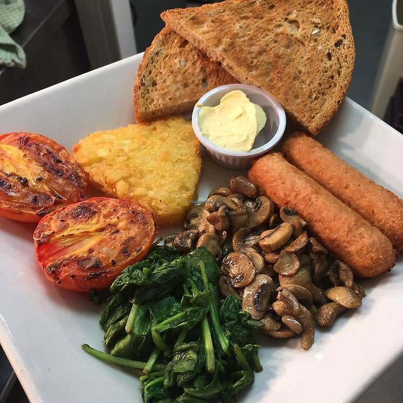 """Photo of The Taproom  by <a href=""""/members/profile/Stace09"""">Stace09</a> <br/>'Build your own' Vegan breakfast including delicious Linda McCartney sausages and dairy-free spread!!! Amazing!!! <br/> September 22, 2017  - <a href='/contact/abuse/image/101398/307121'>Report</a>"""