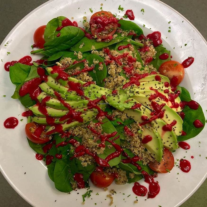 """Photo of The Taproom  by <a href=""""/members/profile/Stace09"""">Stace09</a> <br/>A light mix of quinoa, avocado, spinach and cherry tomatoes with a bright beetroot dressing and chia seeds!!!   <br/> September 22, 2017  - <a href='/contact/abuse/image/101398/307124'>Report</a>"""