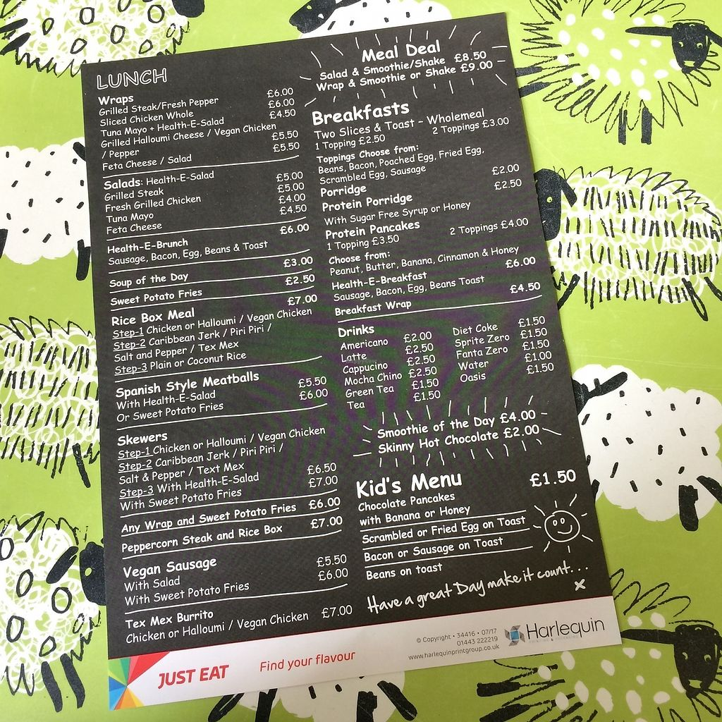 """Photo of REMOVED: Health-E-Cafe  by <a href=""""/members/profile/Hoggy"""">Hoggy</a> <br/>Menu flyer (as of September 2017, unfortunately vegan options not clearly labelled) <br/> September 23, 2017  - <a href='/contact/abuse/image/101400/307481'>Report</a>"""