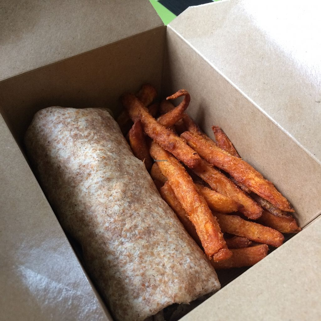 """Photo of REMOVED: Health-E-Cafe  by <a href=""""/members/profile/Hoggy"""">Hoggy</a> <br/>Vegan chicken wrap with sweet potato fries meal <br/> September 23, 2017  - <a href='/contact/abuse/image/101400/307483'>Report</a>"""